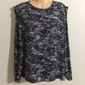 New Michael Kors lace print black long sleeve top